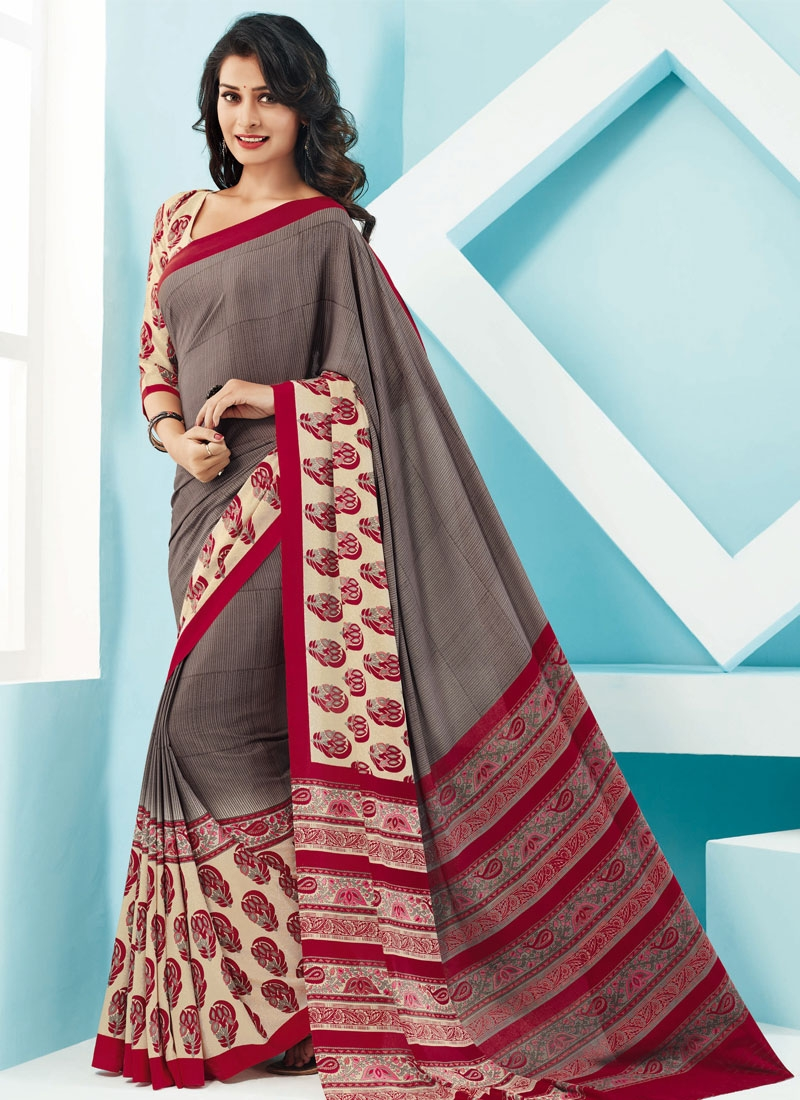 Talismanic Grey And Cream Color Casual Saree