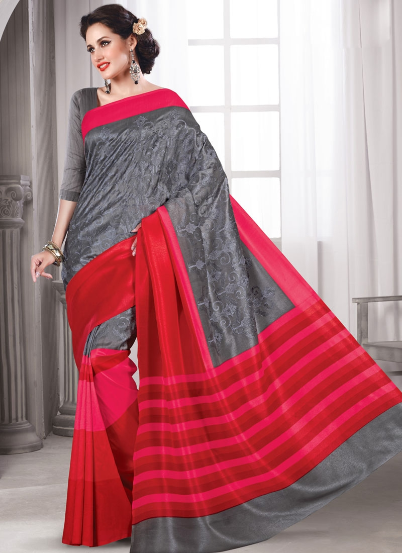 Talismanic Grey Color Art Silk Casual Saree