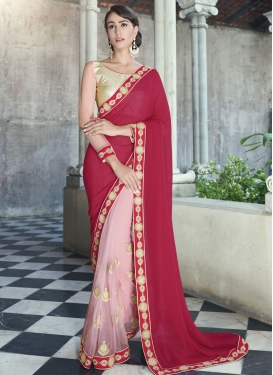 Talismanic Lace And Booti Work Half N Half Party Wear Saree