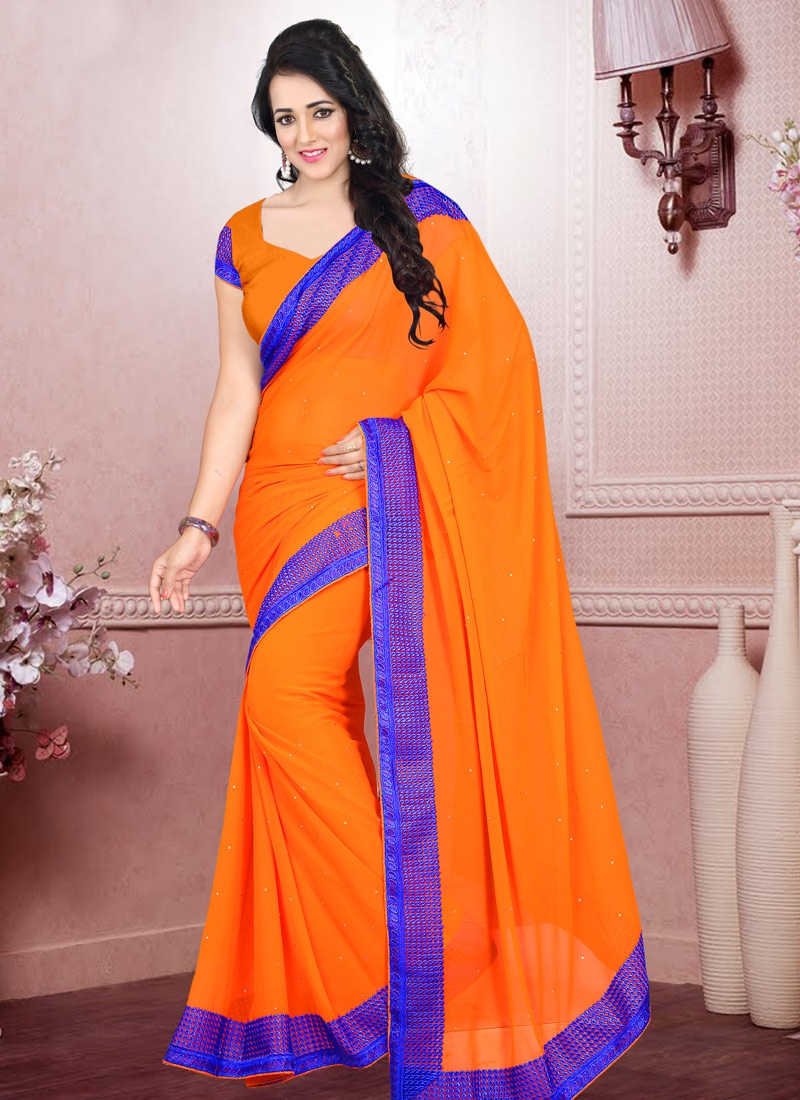 Talismanic Lace And Stone Work Casual Saree