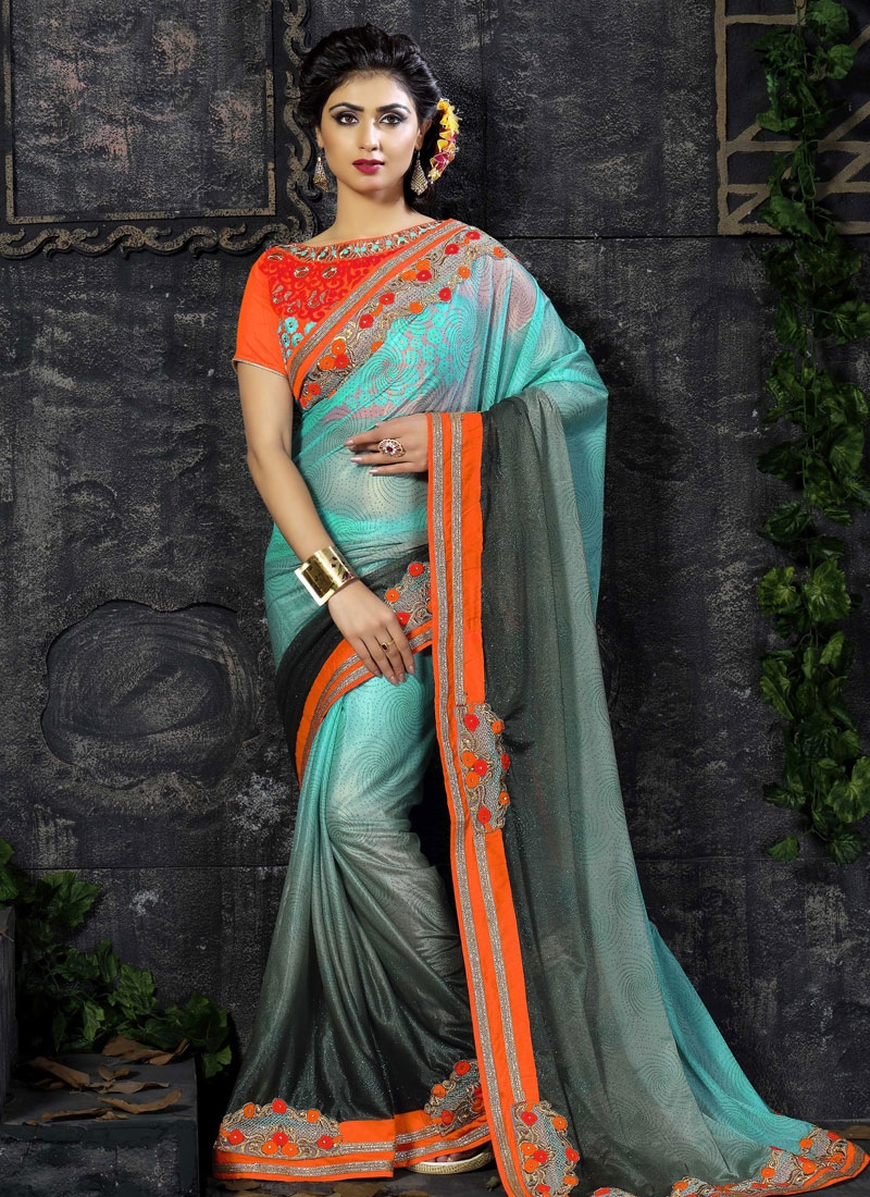 Talismanic Lace Work Lycra Party Wear Saree