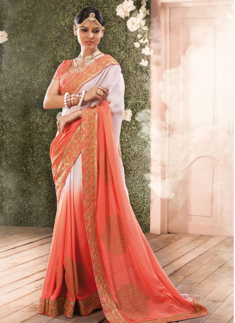 Talismanic Off White And Salmon Color Designer Saree