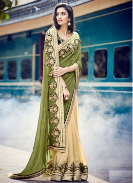 Talismanic Olive Color Half N Half Party Wear Saree