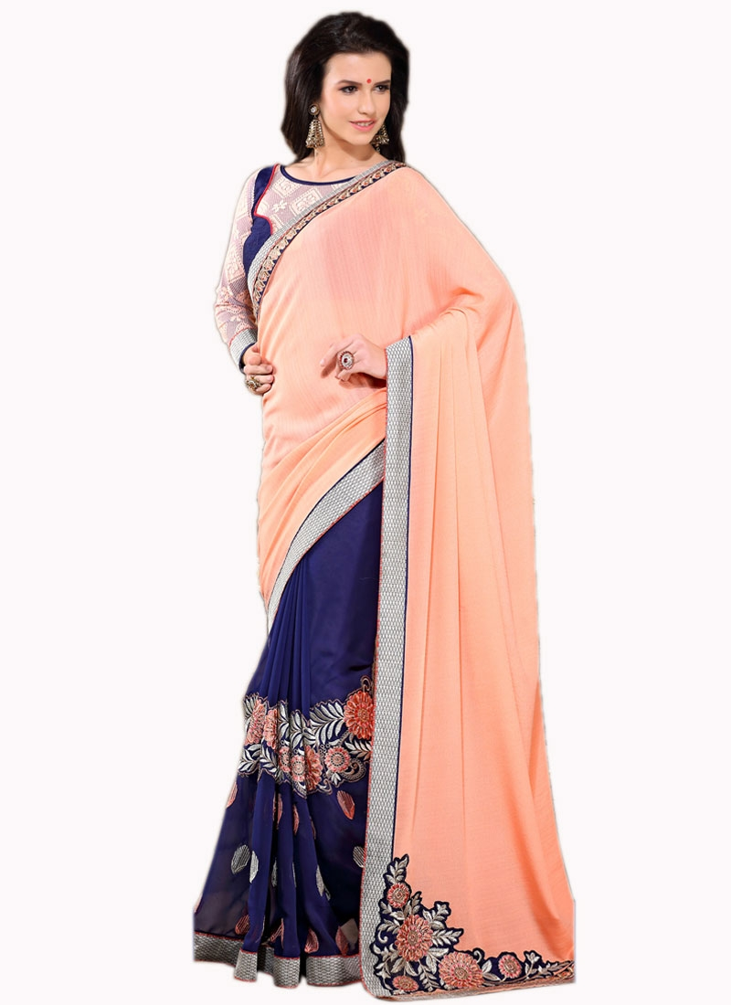 Talismanic Patch Border Work Half N Half Party Wear Saree