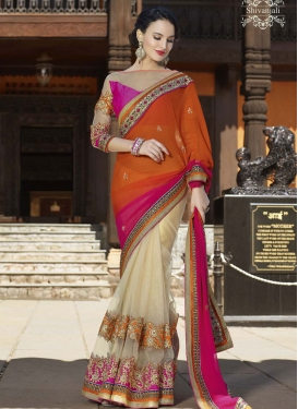 Talismanic Patch Border Work Net Party Wear Saree