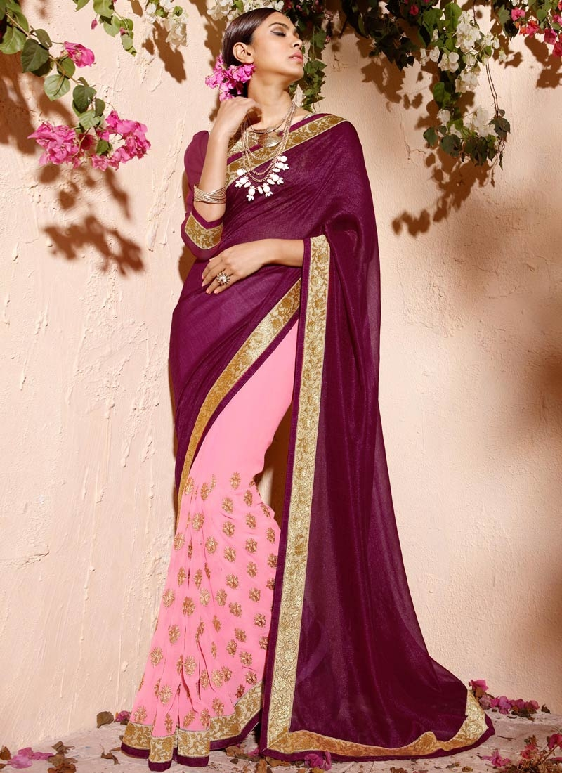 Talismanic Pink Color Multi Work Half N Half Party Wear Saree