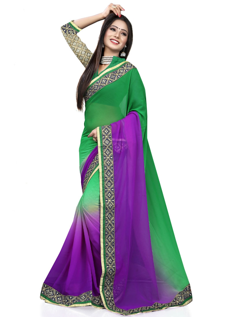 Talismanic Purple And Green Color Party Wear Saree