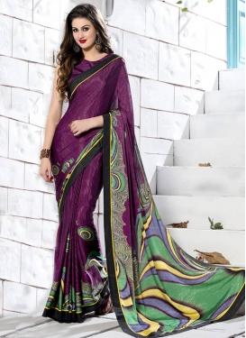 Talismanic Purple Color Lace Work Casual Saree