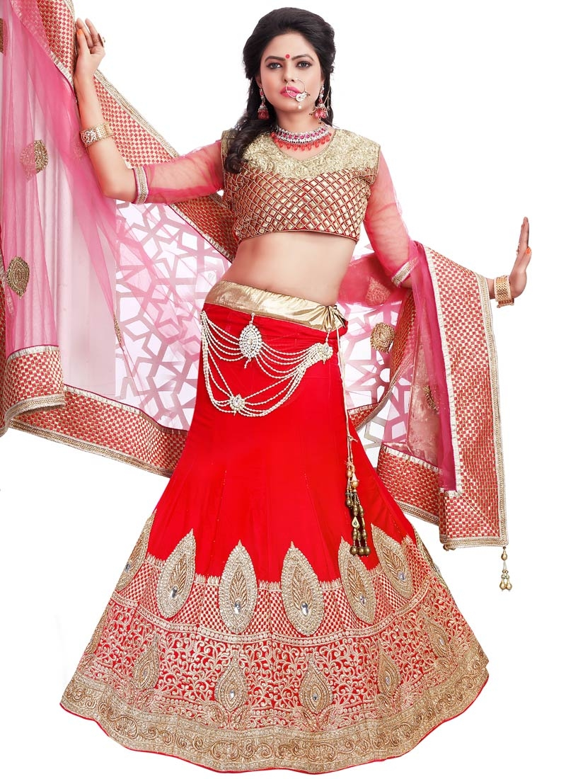 Talismanic Red Color Stone Work Bridal Lehenga Choli