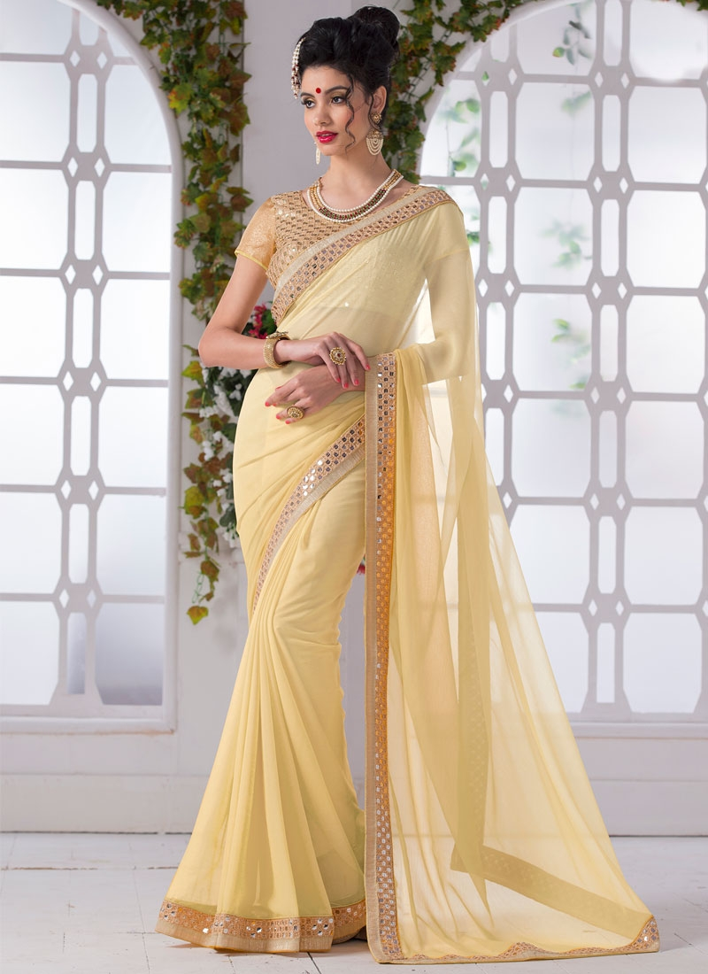Talismanic Resham And Lace Work Cream Color Casual Saree