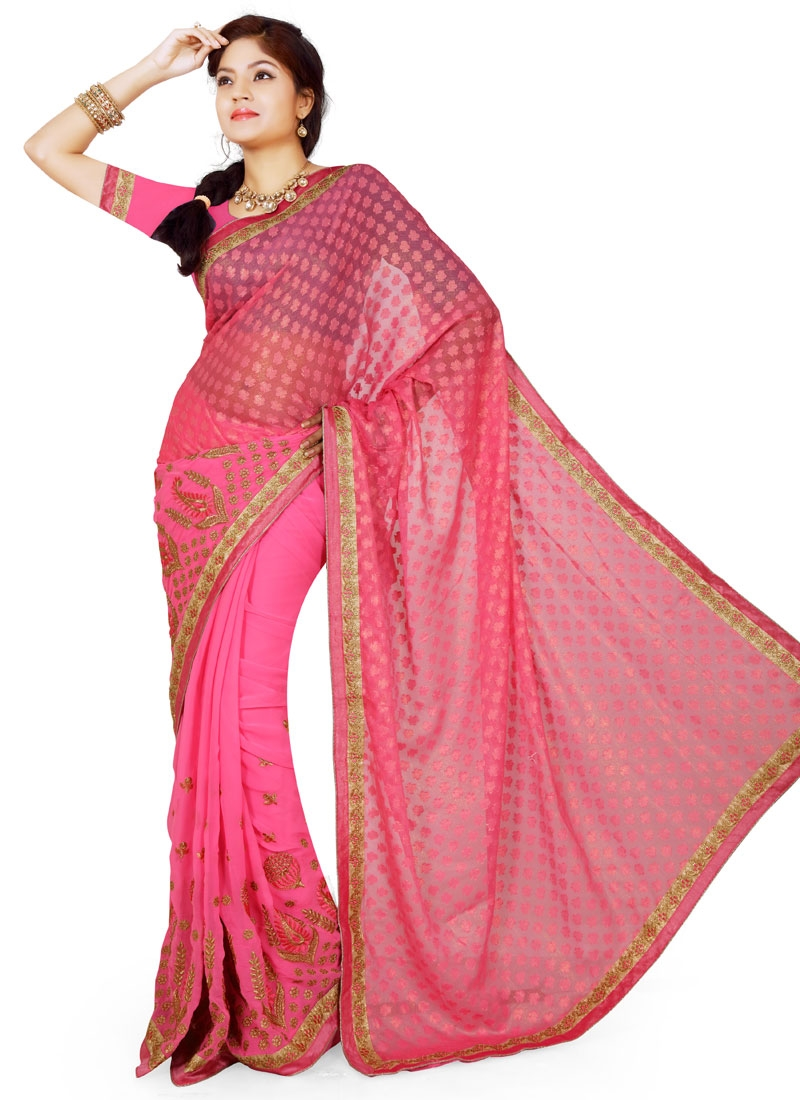 Talismanic Resham Work Hot Pink Color Party Wear Saree