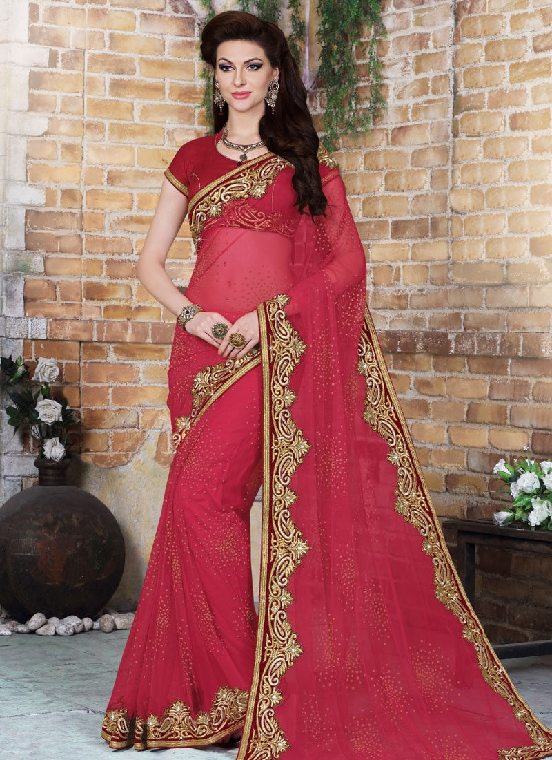 Talismanic Rose Pink Color Net Designer Saree
