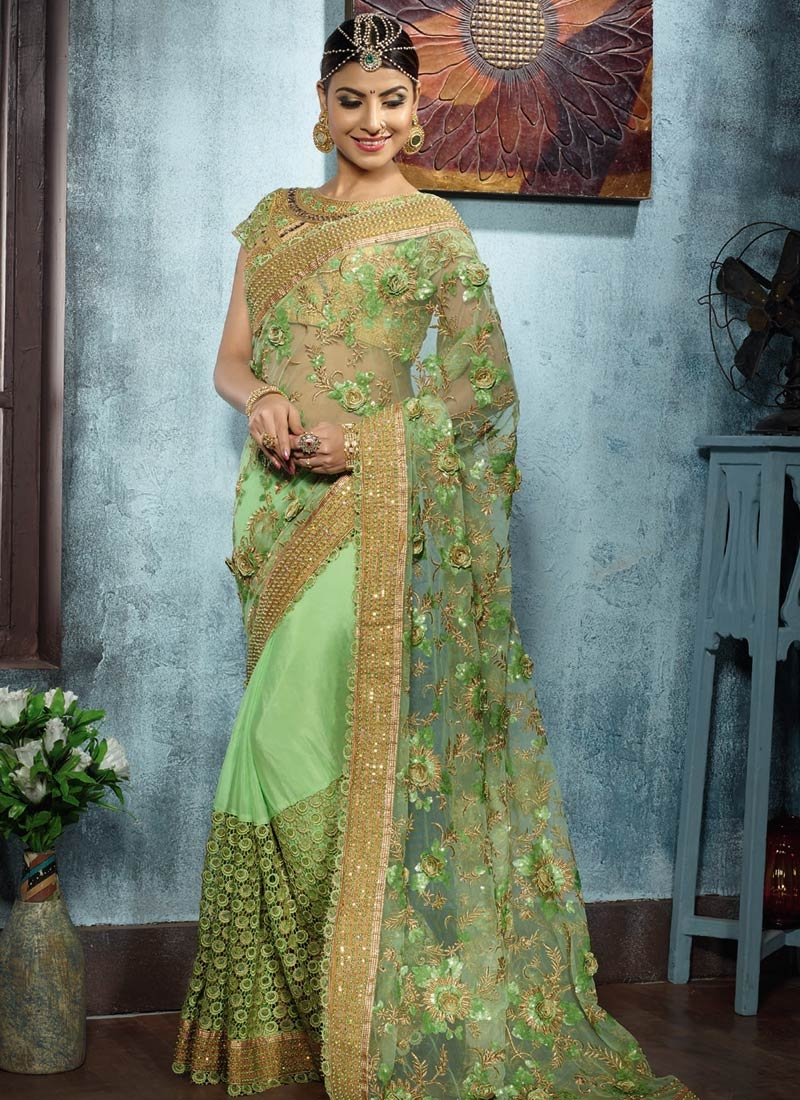 Talismanic Sequins And Beads Work Net Bridal Saree