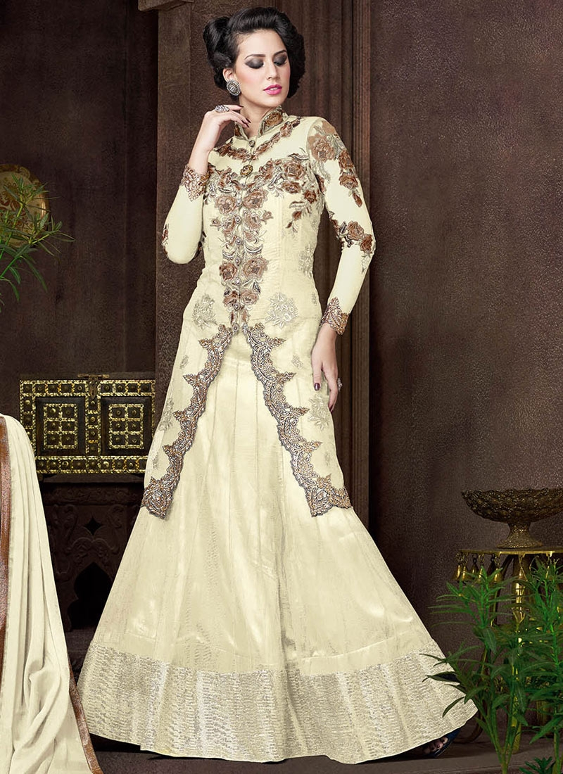 Talismanic Sequins Work Cream Color Designer Lehenga Choli