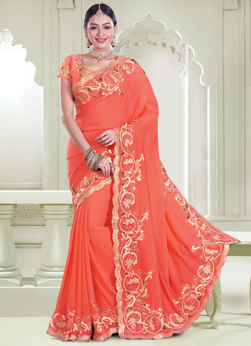 Talismanic Sequins Work Wedding Saree