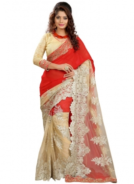 Talismanic Stone And Resham Work Net Designer Saree