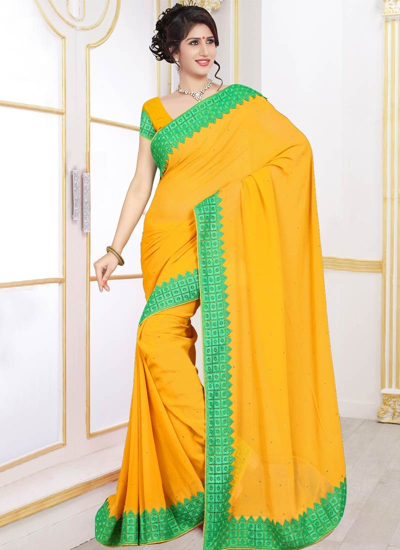 Talismanic Stone Work Mustard Color Casual Saree
