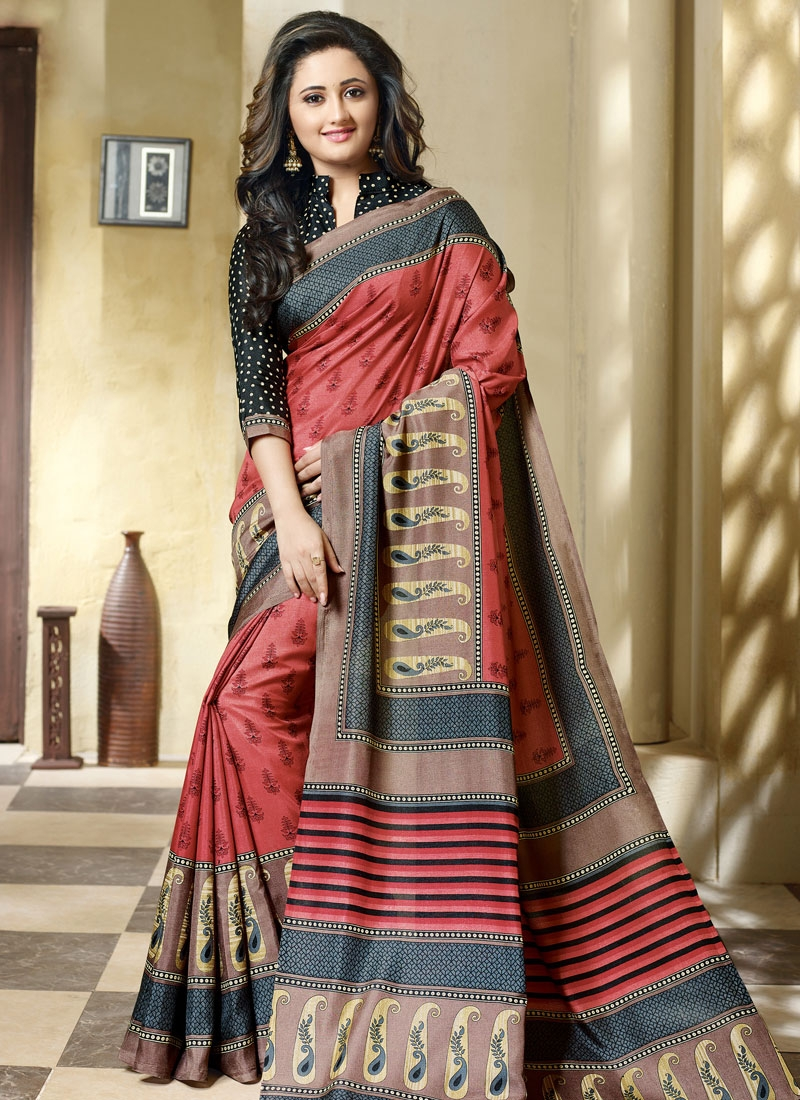 Tantalizing Art Silk Printed Rashami Desai Casual Saree