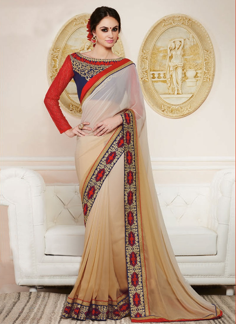 Tantalizing Beige Color Faux Georgette Party Wear Saree