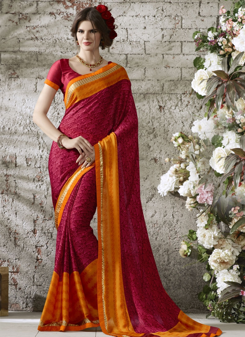 Tantalizing Crimson And Orange Color Casual Saree