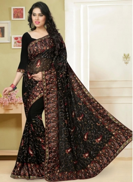 Tantalizing Embroidered Work Contemporary Saree