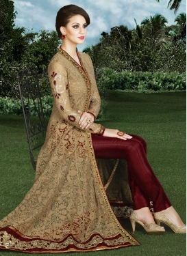 Tantalizing Embroidered Work Pant Style Classic Salwar Suit
