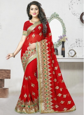 Tantalizing Faux Georgette Booti Work Classic Saree For Ceremonial