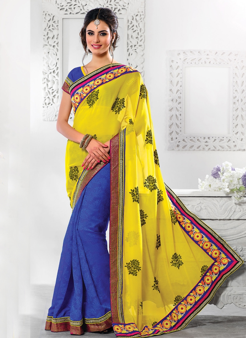 Tantalizing Floral Enhanced Half N Half Saree