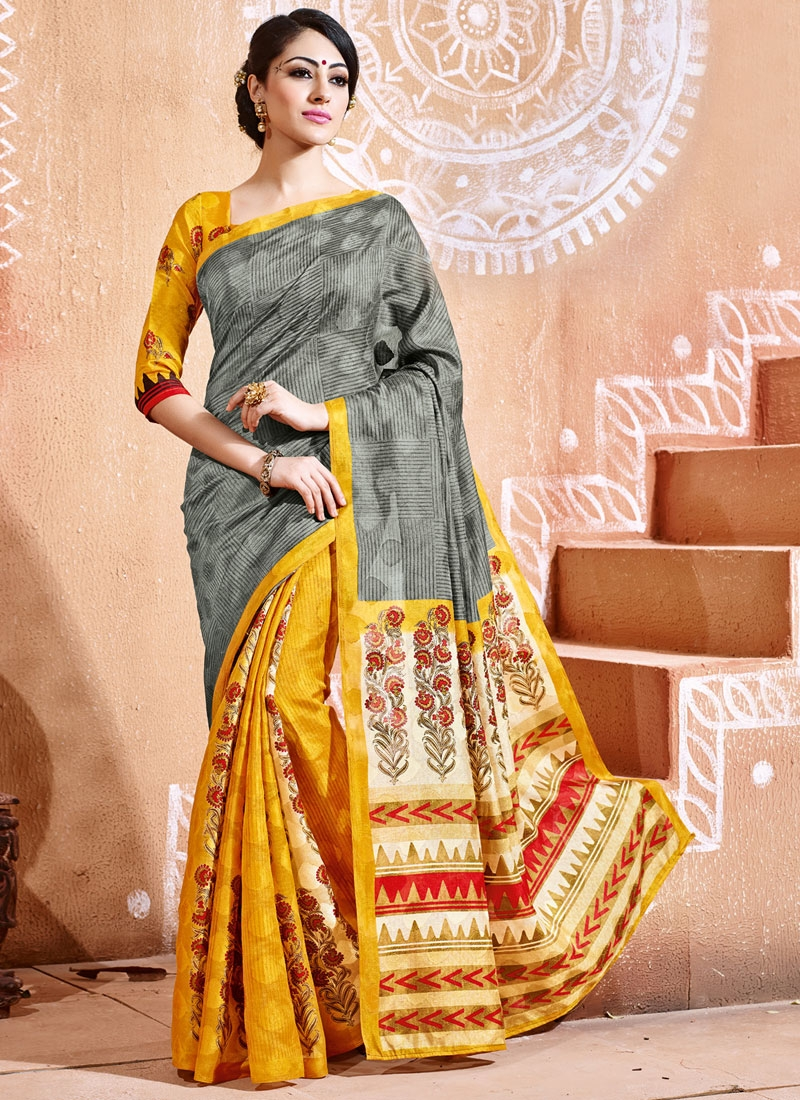 Tantalizing Gold And Grey Color Casual Saree