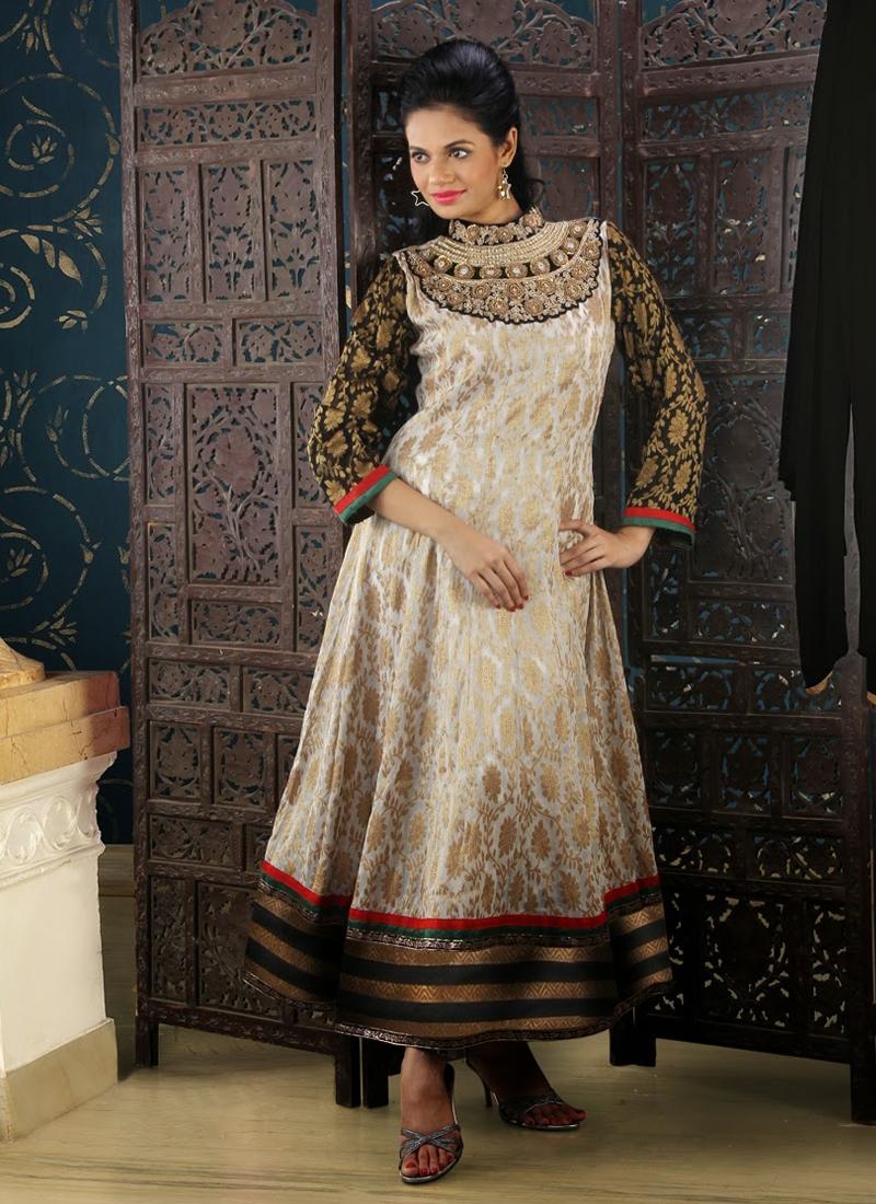 Tantalizing Jaal Work Readymade Anarkali Suit