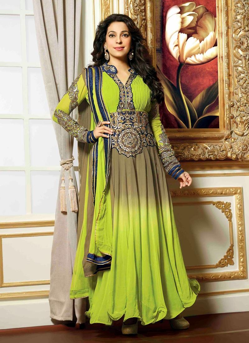 Tantalizing Juhi Chawla Stone Work Bollywood Suit