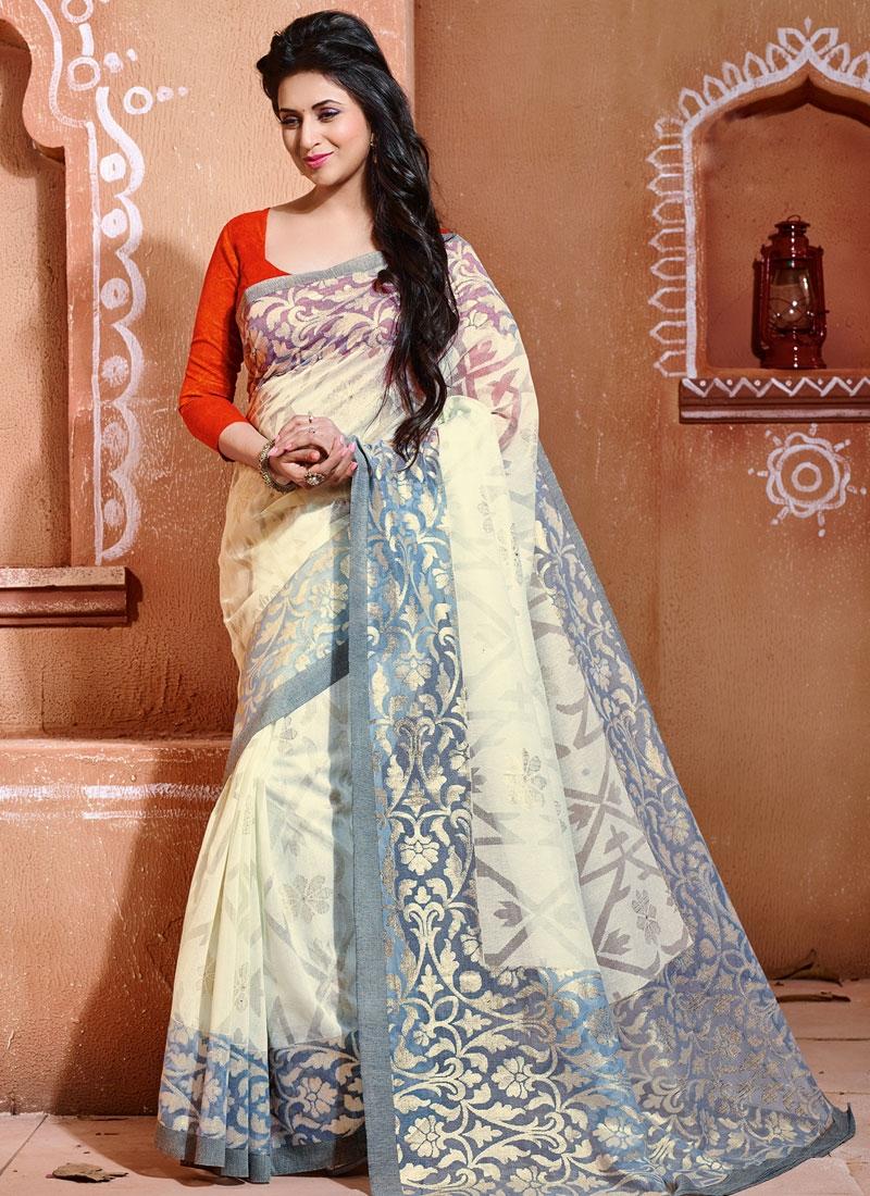 Tantalizing Off White Color Divyanka Tripathi Party Wear Saree
