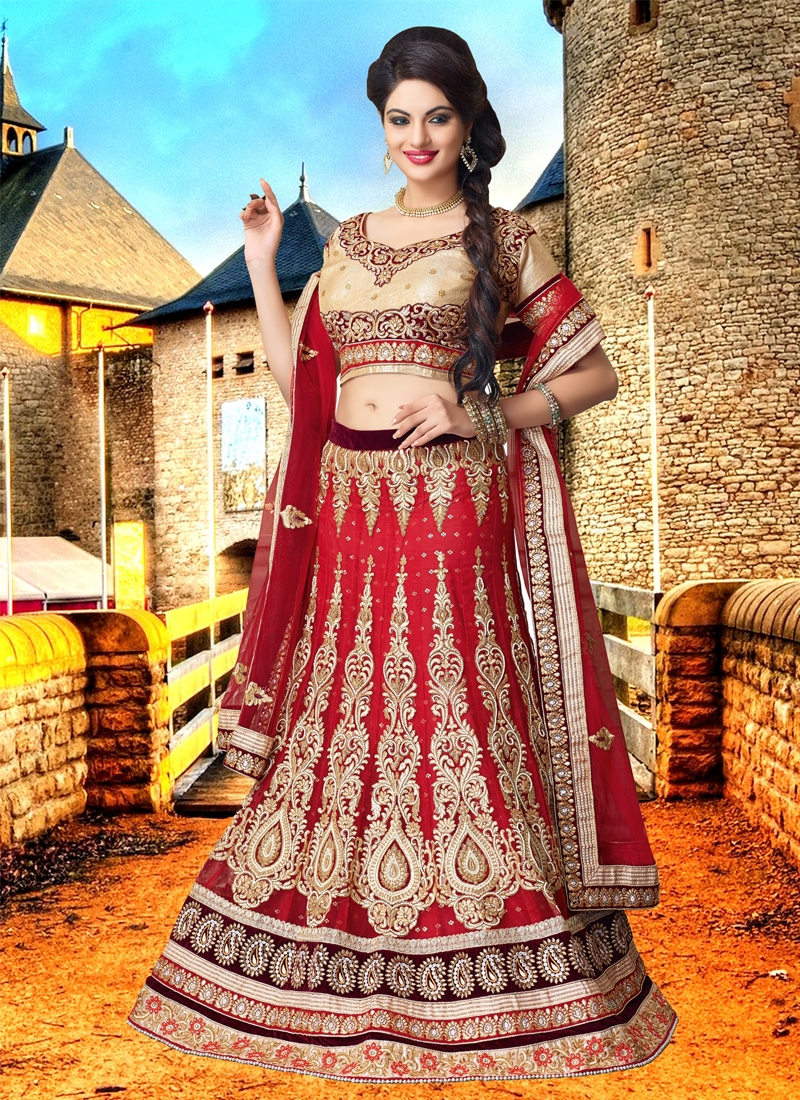 Tantalizing Red Color Net Bridal Lehenga Choli