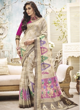 Tantalizing Resham Work Art Silk Cream and Rose Pink Classic Saree