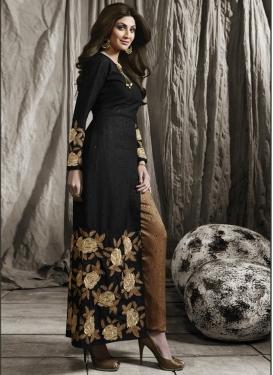 Tantalizing Shilpa Shetty Brocade Pant Style Designer Salwar Kameez