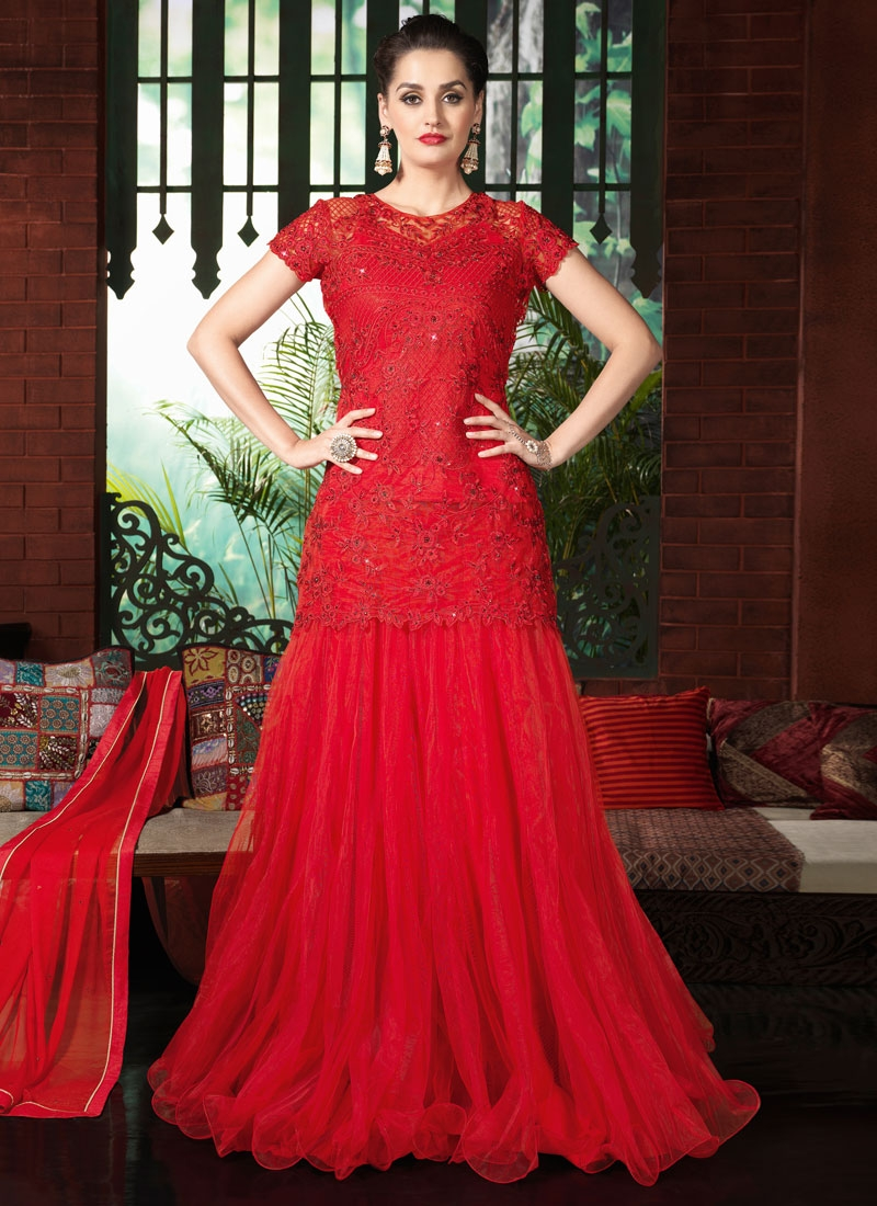 Tantalizing Stone Work Net Red Color Designer Lehenga Choli