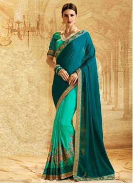 Teal and Turquoise Embroidered Work Half N Half Designer Saree