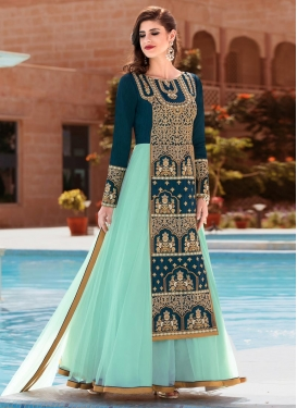 Teal and Turquoise Long Length Designer Suit