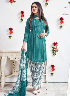 Teal and White Digital Print Work Trendy Patiala Salwar Kameez