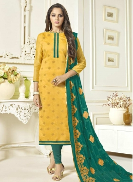 Teal and Yellow Embroidered Work Trendy Pakistani Salwar Suit