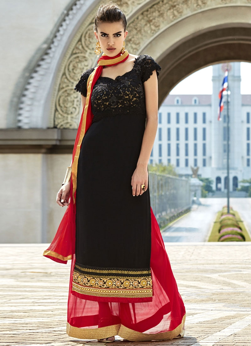 Tempting Black And Red Color Palazzo Style Pakistani Salwar Kameez
