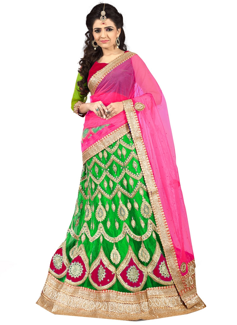 Tempting Booti Work Mint Green Color Net Designer Lehenga Choli