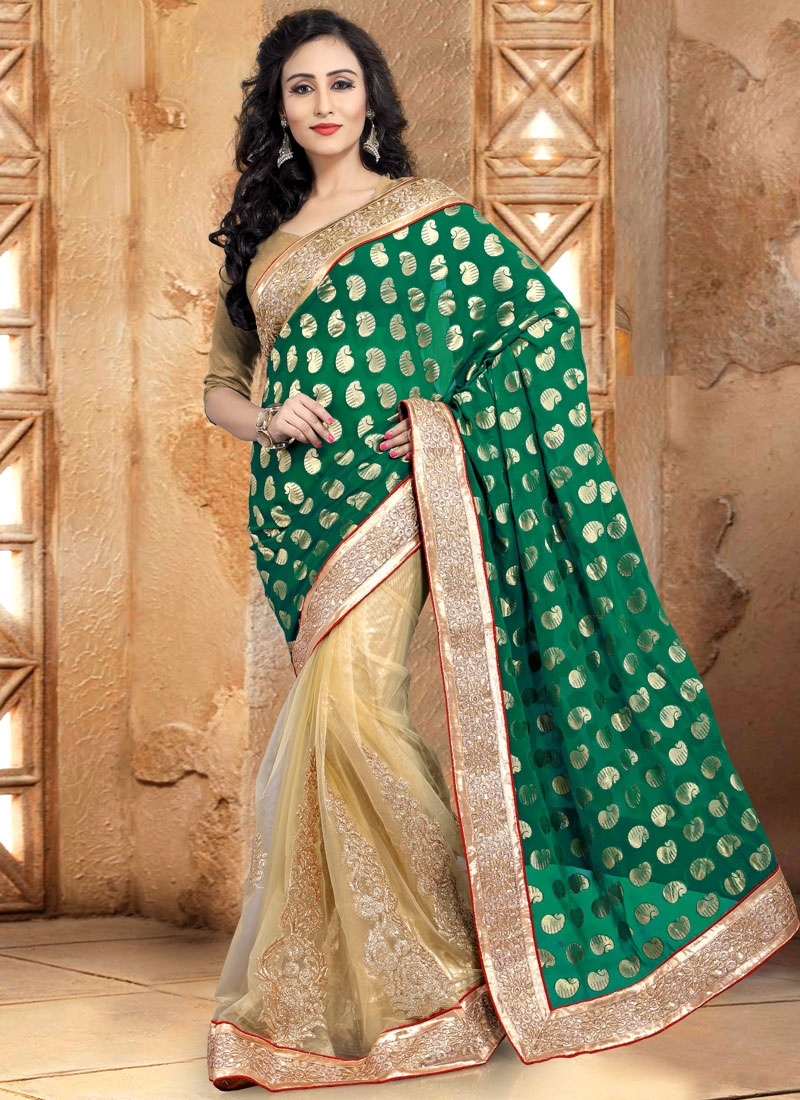 Tempting Booti Work Viscose Half N Half Party Wear Saree