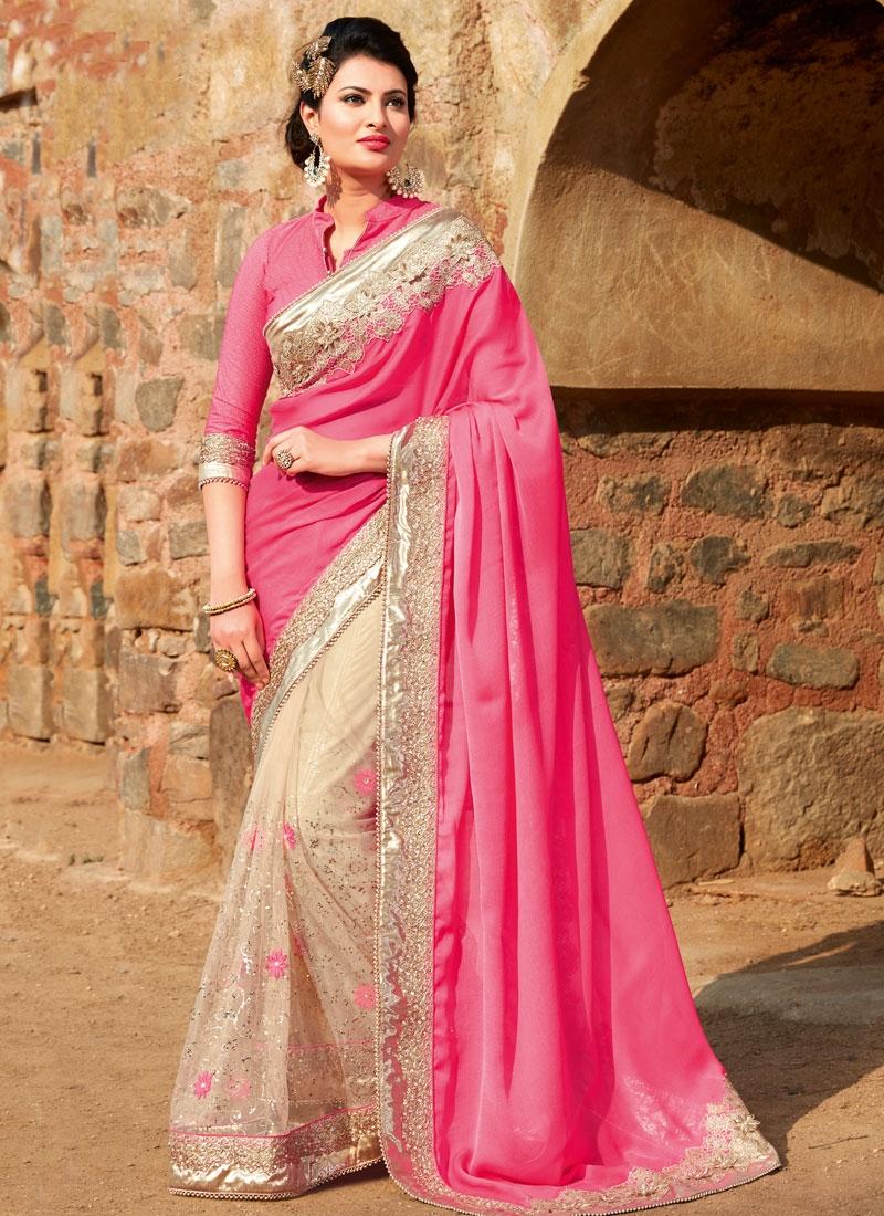 Tempting Chiffon Satin Lace Work Half N Half Wedding Saree