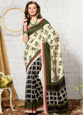 Tempting Cream And Black Color Half N Half Casual Saree