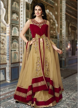 Tempting Crystal Work Beige and Maroon  Designer Long Choli Lehenga