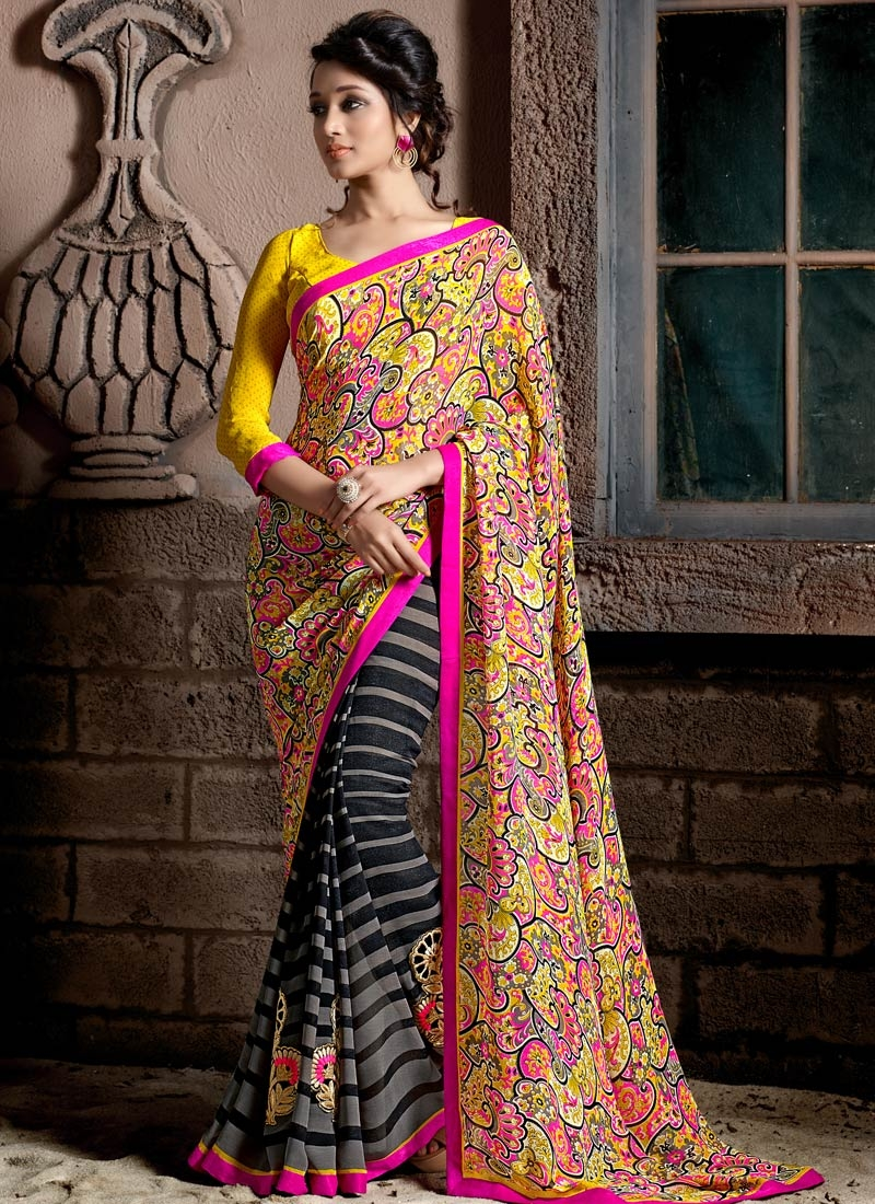 Tempting Digital Print And Lace Work Half N Half Casual Saree