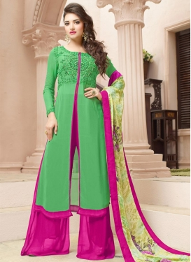 Tempting  Green and Rose Pink Faux Georgette Designer Palazzo Salwar Kameez