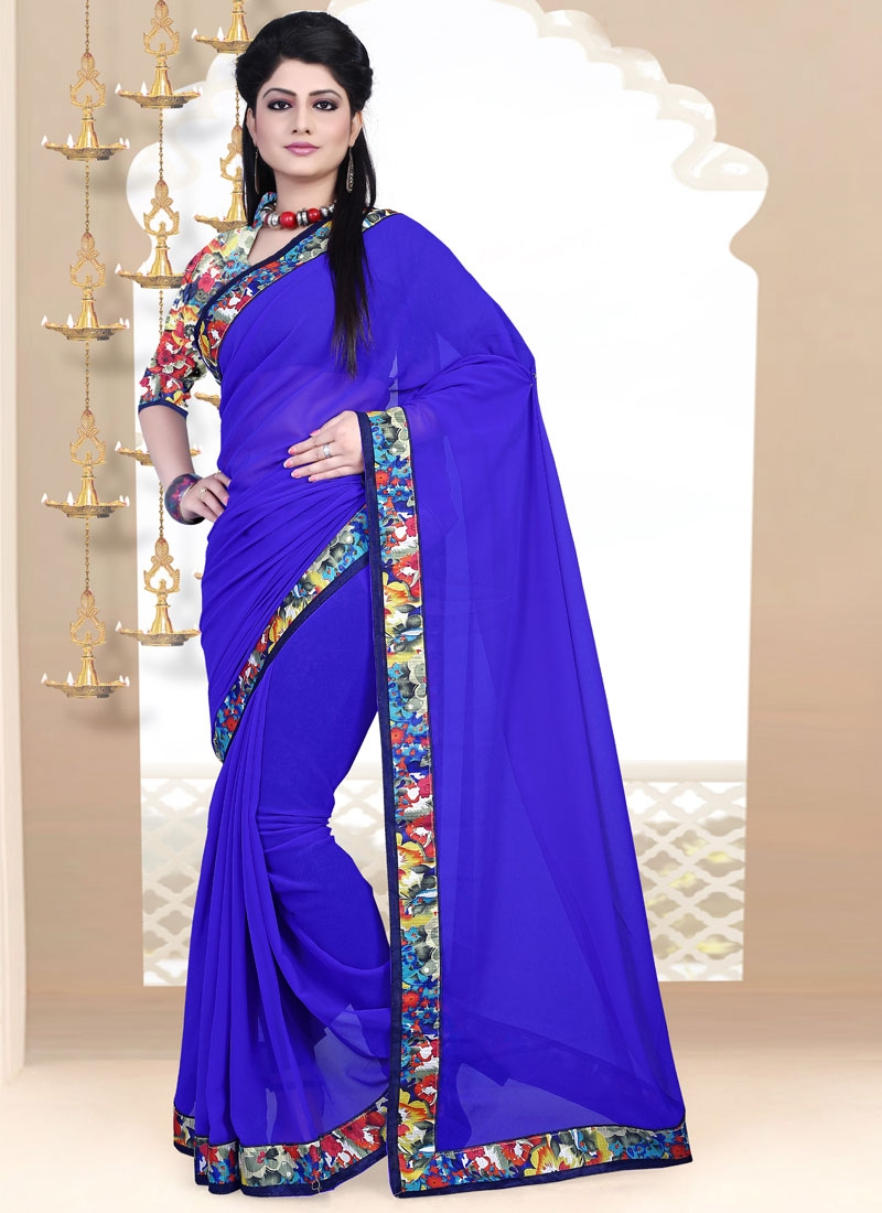 Tempting Lace Work Blue Color Casual Saree