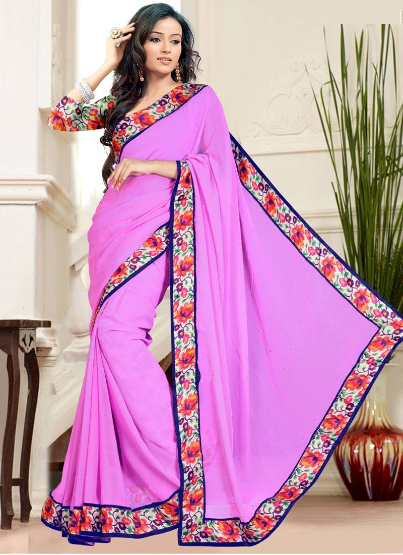 Tempting Lavender Color Casual Saree